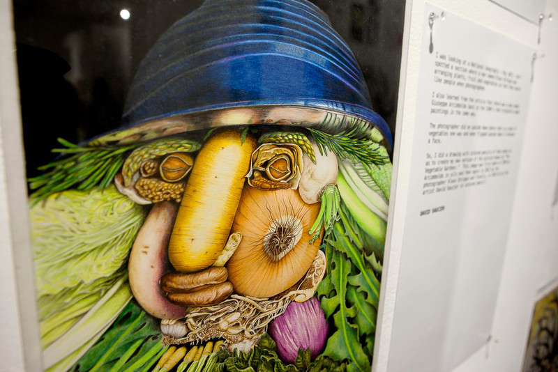Inmate Artist David Saucier's interpretation of the work of Arcimboldo at the CPA Prison Arts Program's Annual Show 2013.