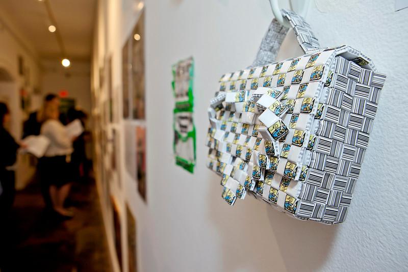 Edward Schanck's intricate ramen noodle wrapper handbags at the Annual Show 2013.