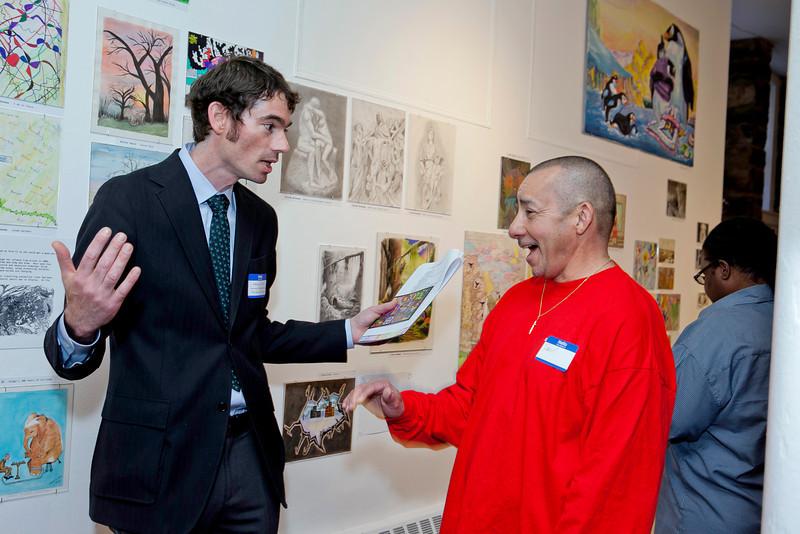 Prison Arts Program Manager Jeffrey Greene with Charter Oak Center's Raul Santiago, Building Manager.