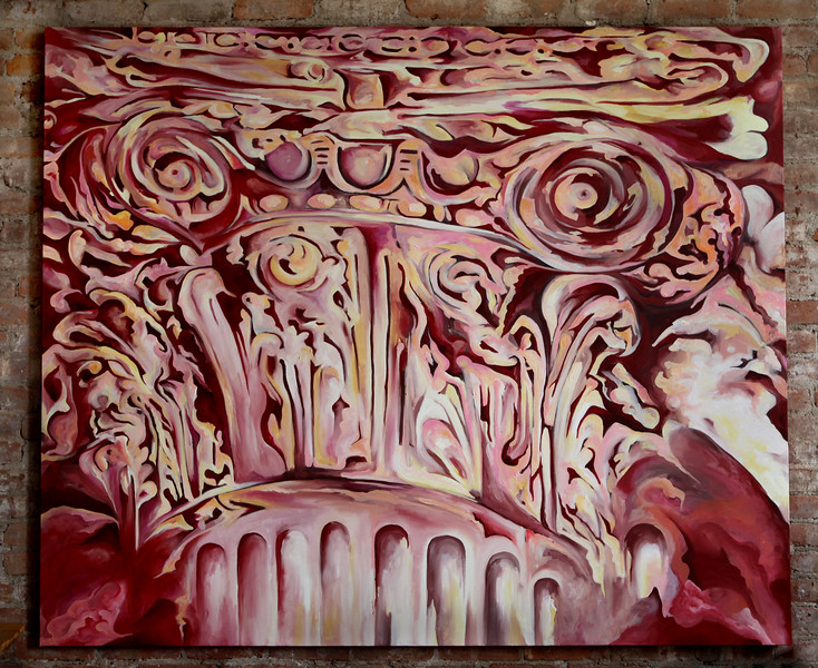 """Pink Stone Capital""<br /> Oil on Canvas<br /> 5 ft x 6 ft <br /> July 2011<br /> Available for Purchase"