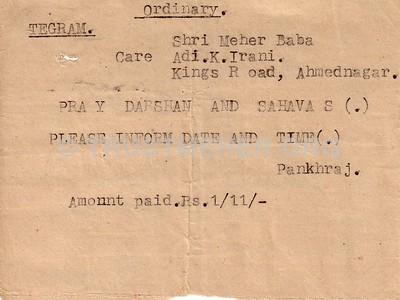 Pankhraj sends Telegram praying Darshan and Sahvas