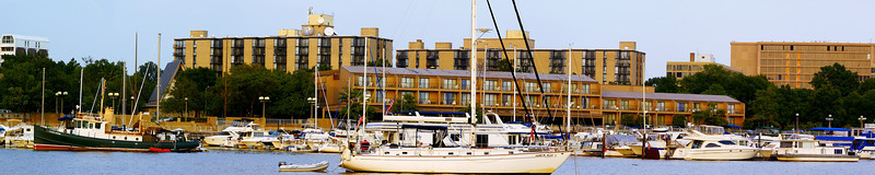 A PANORAMIC VIEW OF A PORTION OF THE WASHINGTON CHANNEL AT THE WASHINGTON YACHT CLUB IN WASHINGTON D.C.