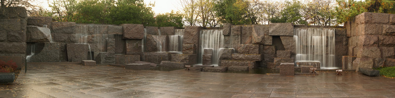 A PANORAMIC VIEW OF THE MAIN WATER FALL IN THE FRANKLIN DELANO ROOSEVELT MEMORIAL IN WASHINGTON D.C.