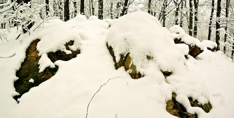 SNOW COVERED ROCKS PANORAMA