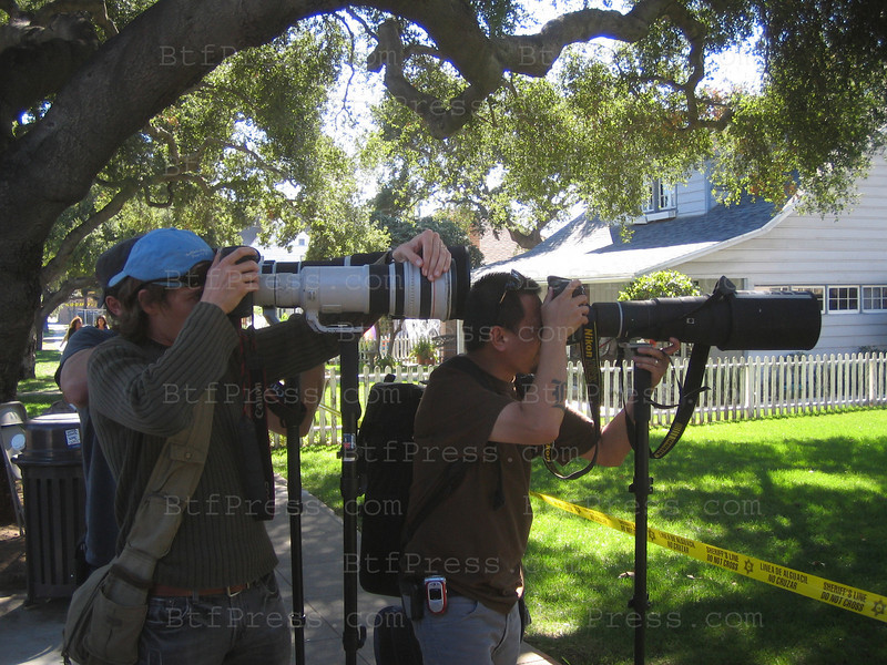 Paparazzi are taking photos of Angellina Jolie during the movie set of the Changeling in San Dimas California.