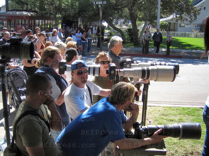 Paparazzi shot Angellina Jolie during the movie set of the Changeling in San Dimas California.