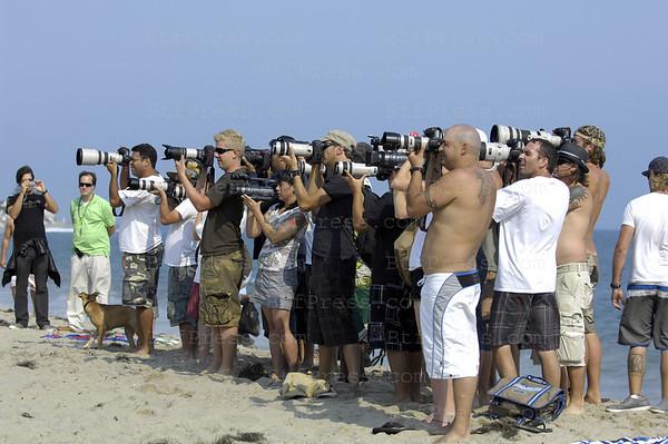 Paparazzi on the beach in Malibu,the target was Paris Hilton.