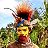 The highlands, Tari area, Huli tribe young man in his village