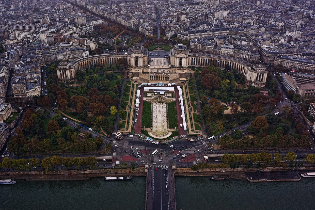 View from the Eiffel Tower:  Les Jardins du Trocadero, including the Trocadero esplanade.  The Musee de I'Homme, Musee de La Marine, the Hotel Eiffel du Trocadero  are housed in the building.  Just one of the incredible views from the top of the Tower!