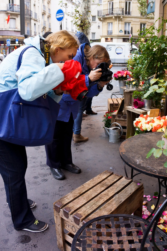 Photographers at work!   We couldn't pass up flowers, and didn't!  Spent some time at this lovely florist on a street corner in Paris.