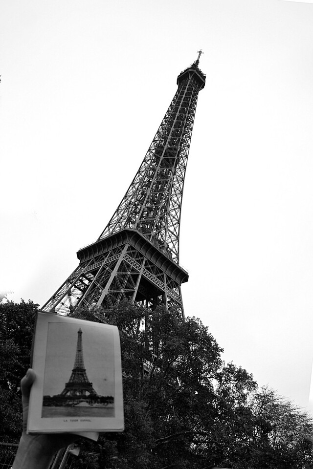 My uncle was in Paris in WWI and in addition to finding a photo of him in uniform, I found a book of photographs of Paris from that era in his belongings.  I brought the book with me to Paris & with the help of a friend, took this photo.   One day maybe I'll go back and find the other landmarks in this old book and add to the collection.