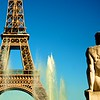 Statue of man at the Trocadero looking at the Eiffle Tower. Paris, France