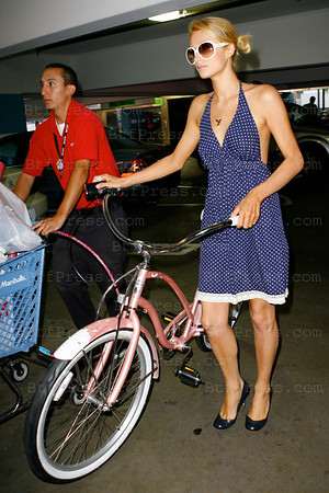 A day with Paris Hilton with a big grossery shopping at Bristol Farms Market, about 20 bags, and a final surprise in Sport Chalet with a beautiful Pink Bike. August11,2008 in Beverly Hills California.