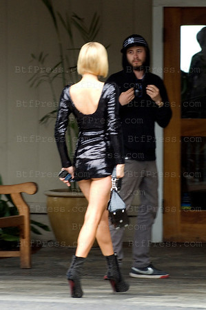 EXCLUSIVE. Malibu,California,April 02,2009. Paris Hilton indiscretion during her new reality show, she is wearing a really short dress at the Duke's Malibu restaurant.