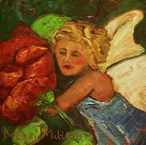 SHE'S A TINY GIRL...A PRINCESS REALLY - 8X8/oil on canvas