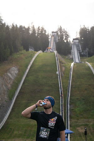 Participant enjoys a Redbull at the Redbull 400 Whistler on July 13, 2019
