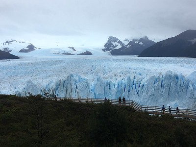 Elevated catwalks across from the Perito Moreno Glacier made it accessible. We watched for four hours from various places along the 5 kilometers of catwalk.
