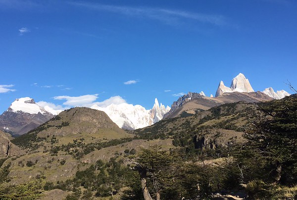 Mt Fitzroy on right tallest in Argentina.   Our first hiking day 10 miles RT. Gorgeous as we got closer.  Lucked out with weather!!