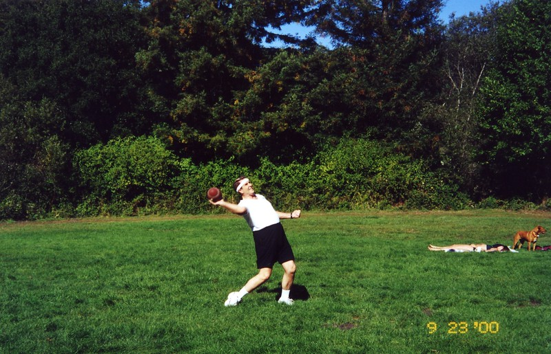 Throwing the football Patty Monahan's Wedding Sept 2000