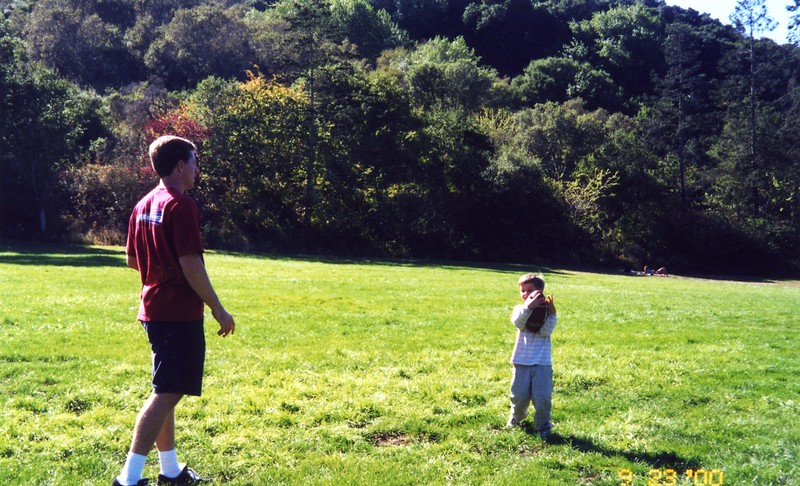 Paul playing football with Tommy at Patty Monahan's Wedding Sept 2000