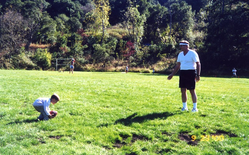 Playing football in the park with Paul Patty Monahan's Wedding Sept 2000