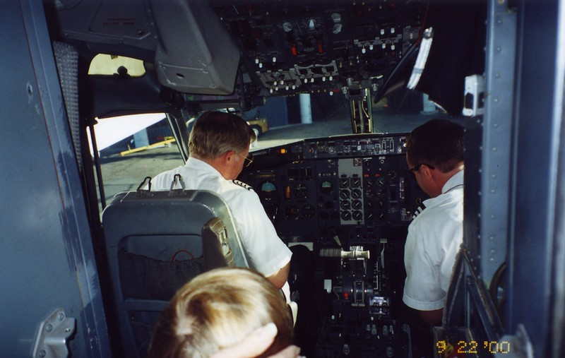 Paul looking at plane cockpit Patty Monahan's Wedding Sept 2000