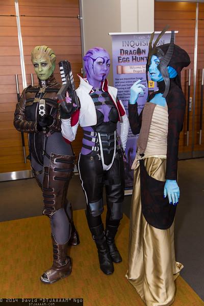 Shiala, Aria T'Loak, and Matriarch Benezia