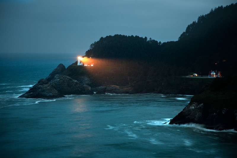 DUSK AT HECETA HEAD LIGHTHOUSE