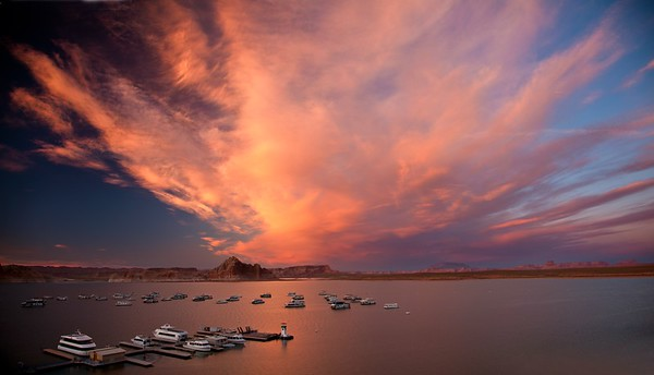 FIRE OVER LAKE POWELL PANORAMA