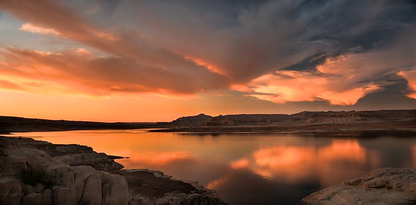 REFLECTIONS OF A LAKE POWELL SUNSET PANORAMA