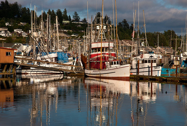 THE FISHING BOATS OF NEWPORT HARBOR, OREGON