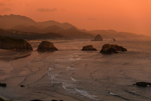 RED TWILIGHT--CANNON BEACH