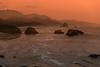 RED TWILIGHT--CANNON BEACH