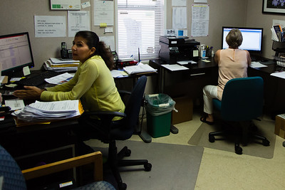 Alexandra Davenport and Diane Williams working in the office of MyClinic on Indiantown Road in Jupiter, FL. MyClinic  provides primary health care to adults and serves low-income residents. (Joseph Forzano / The Palm Beach Post)