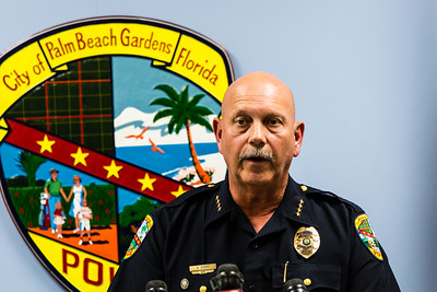 Palm Beach Gardens Police Chief Stephen Stepp speaks during a press conference at the Palm Beach Gardens Police department on Tuesday, October 20, 2015. Chief Stepp updated the press on the invesitgation into the office involved shooting of Corey Jones. (Joseph Forzano / The Palm Beach Post