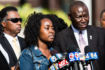 Melissa Jones speaks about his brother, Corey Jones, during a press conference outside the Palm Beach County Courthouse on Thursday, October 22, 2015.  (Joseph Forzano / The Palm Beach Post)