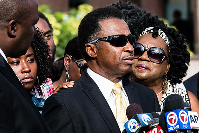 Clinton Jones Sr. speaks about his son, Corey Jones, during a press conference outside the Palm Beach County Courthouse on Thursday, October 22, 2015.  (Joseph Forzano / The Palm Beach Post)