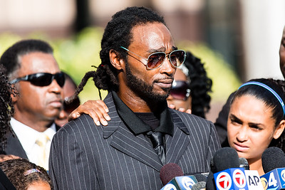 Clinton Jones Jr. speaks about his brother, Corey Jones, during a press conference outside the Palm Beach County Courthouse on Thursday, October 22, 2015.  (Joseph Forzano / The Palm Beach Post)