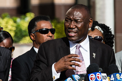 Jones' family attorney Benjamin Crump speaks during a press conference outside the Palm Beach County Courthouse on Thursday, October 22, 2015. Prior to the press conference, Crump and the Jones family met with Palm Beach County State Attorney David Aronberg, where they discussed the officer involved shooting of Corey Jones. (Joseph Forzano / The Palm Beach Post)