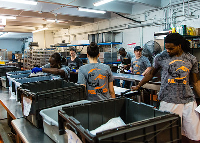 Workers at Fuel Foods in West Palm Beach, sort, pack and move pre-packaged fresh meals in preparation for shipping on Thursday, November 5, 2015. (Joseph Forzano / The Palm Beach Post)