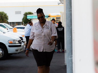 Palm Beach County school bus driver Kerra George prepares to talk at the bus compound about the fire that happened on her bus during the morning route on Wednesday, November 18, 2015. (Joseph Forzano / The Palm Beach Post)