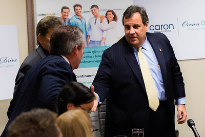 New Jersey Governor and Presidential Candidate Chris Christie speaks at the Caron Treatment Centers in Boca Raton on Monday, December 7, 2015. Governor Christie spoke with board members, staff and alumni of the treatment center about combating addiction.