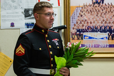 Marine Corporal William Tyler Christian walked into his sister Amandalyn Christian's NJROTC class at Palm Beach Gardens High School to surprise her after two years stationed in Yuma, Arizona on Tuesday, March 15, 2016. (Joseph Forzano / The Palm Beach Post)