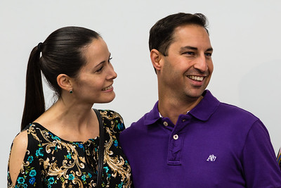 Palm Beacdh County Teacher of the Year Stephen Anand and his wife, Lalena Anand, in his biology class at Dreyfoos School of the Arts on Tuesday, March 15, 2016. Anand was just told he had been selected Palm Beach County School Teacher of the Year.  (Joseph Forzano / The Palm Beach Post)