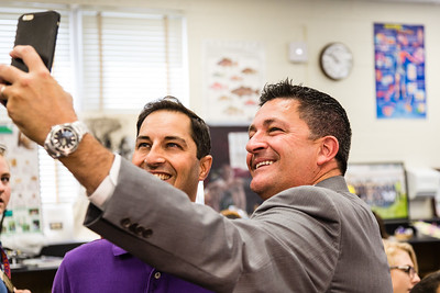 Palm Beach County Schools Superintendent Dr. Robert Avossa takes a selfie with Palm Beach County School Teacher of the Year Stephen Anand in Anand's biology classrom at Dreyfoos School of the Arts on Tuesday, March 15, 2016. (Joseph Forzano / The Palm Beach Post)
