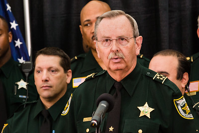 Palm Beach County Sheriff Ric Bradshaw speaks during a news conference on Monday, April 14, 2016. During the event, Florida Governor Rick Scott signed a ceremonial bill on a piece of victims' rights legislation at the Palm Beach County Sheriff's Office in West Palm Beach.  (Joseph Forzano / The Palm Beach Post)