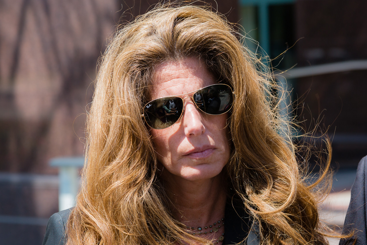 Pamela Cohen after leaving the State Attorney's Office with Nick Korniloff and their lawyer on Monday, April 26, 2016. The attorney for the family of Perry Cohen said the phone that was found on the missing boys' boat will stay with the Florida Fish and Wildlife Conservation Commission. The attorney said the family filed a lawsuit on Sunday to stop law enforcement from releasing to the iPhone to the Stephanos family. (Joseph Forzano / The Palm Beach Post)