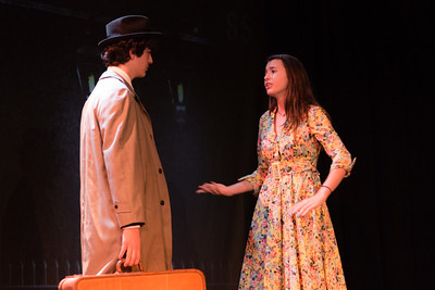 "050416 PBDN Joseph Forzano Grayson Costa  (left) playing Dr. Frederick Frankenstein rehearses with Allegra Treves playing Elizabeth for the play ""Young Frankenstein"" at the Palm Beach Day Academy on Wednesday, May 4, 2016. The play is directed by Jan-Marie Cook and the musical director is Annette Johnson."