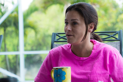 Amy Kilgore, 37, of Philadelphia, Pennsylvania, shares her thoughts on the morning meditation passage  with the group in the All About Recovery younger womens sober home in Loxahatchee, Florida on Wednesday, May 10, 2016.  Kilgore is a recovering heroin addict and has been a resident of the younger women's sober home since March 2016.  (Joseph Forzano / The Palm Beach Post)