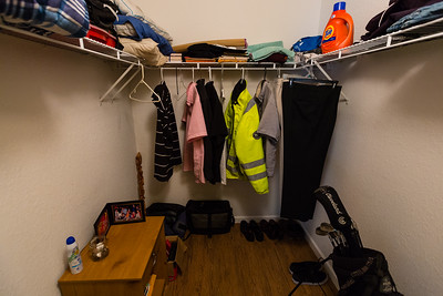 Peter's closet in the All About Recovery older men's home in West Palm Beach, FL on Tuesday, May 24, 2016. Peter, 55, is a recovering alcoholic and is an avid golfer and fisherman. [PETER DECLINED TO HAVE HIS PICTURE TAKEN AND DOES NOT WANT HIS LAST NAME USED] (Joseph Forzano / The Palm Beach Post)